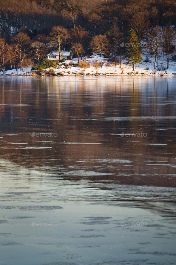 Frozen Lake Rursee At Rurberg, Germany - Stock Photo - Images