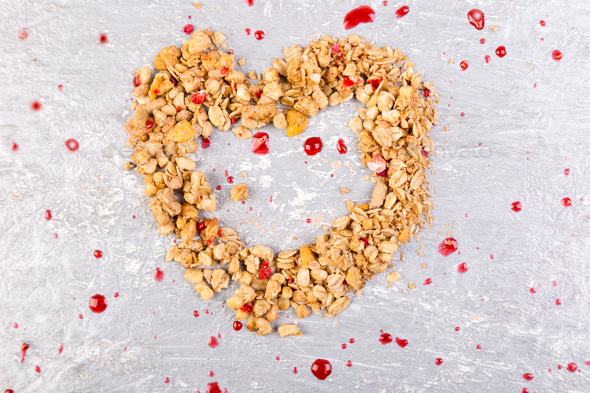 Shape Heart from Granola. Valentine Day. Copy space. Top view. Healthy Concept. - Stock Photo - Images