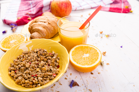 Healthy Breakfast. Various Assortment Set. Orange Juice, Granola, Croissant, and Fruit. - Stock Photo - Images