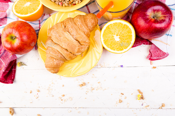 Healthy Breakfast. Various Assortment Set. Orange Juice, Granola, Croissant, and Fruit. - Stock Photo - Images