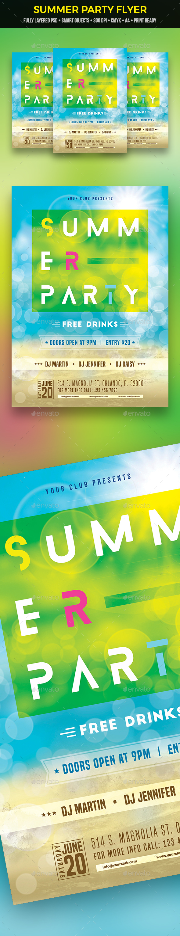 GraphicRiver Summer Party Flyer 21196625