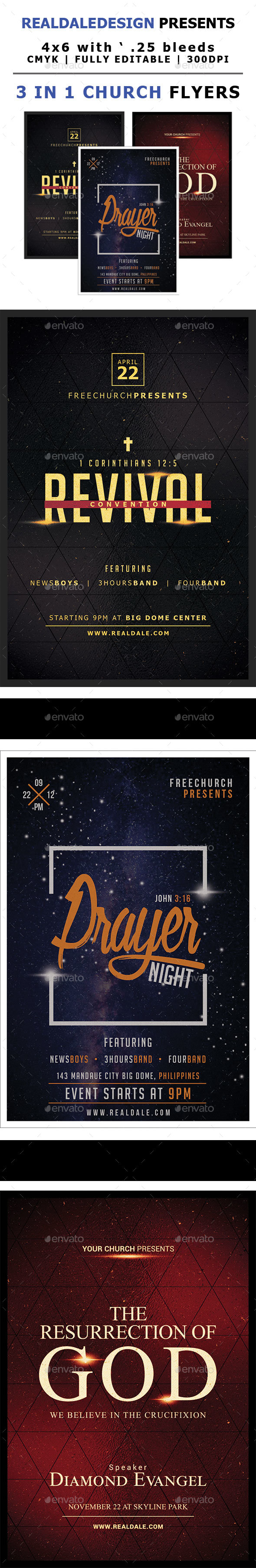 GraphicRiver 3 in 1 Church Flyers Bundle Vol 1 21189383