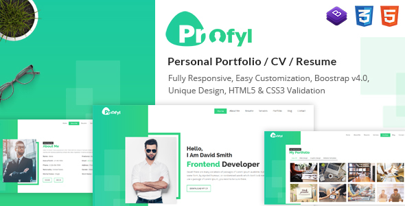 Image of Profyl - Personal Vcard Resume HTML Template