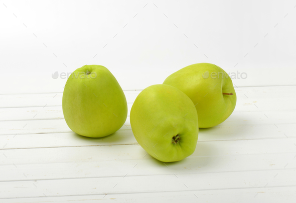 Three green apples - Stock Photo - Images