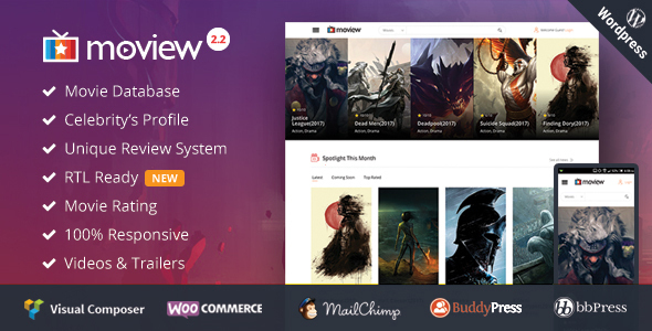 Moview - Responsive Film/Video DB & Review Theme - Film & TV Entertainment