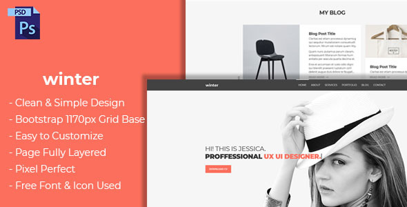 ThemeForest Portfolio Winter Portfolio PSD Template 21196770