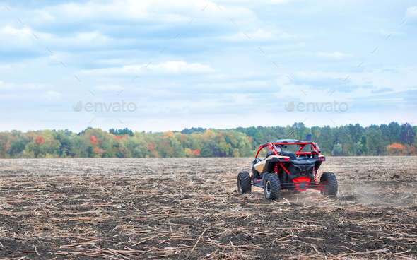 Quad bike was taken from behind - Stock Photo - Images