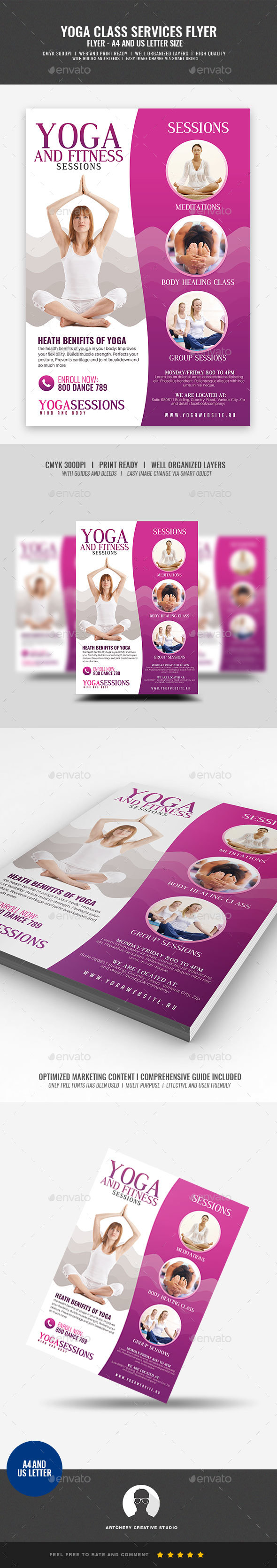 GraphicRiver Yoga Class And Session Flyer 21197145