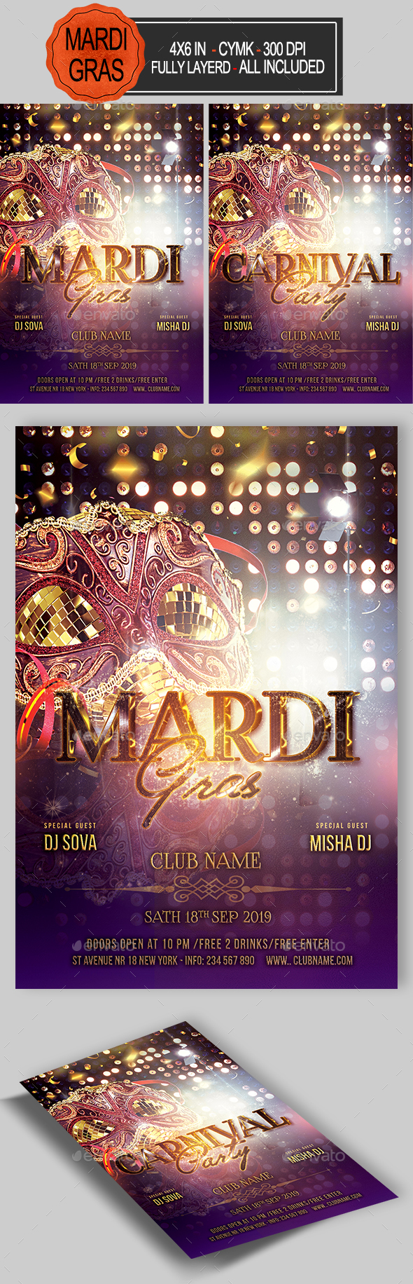 GraphicRiver Carnival Mardi Gras Flyer 21197296