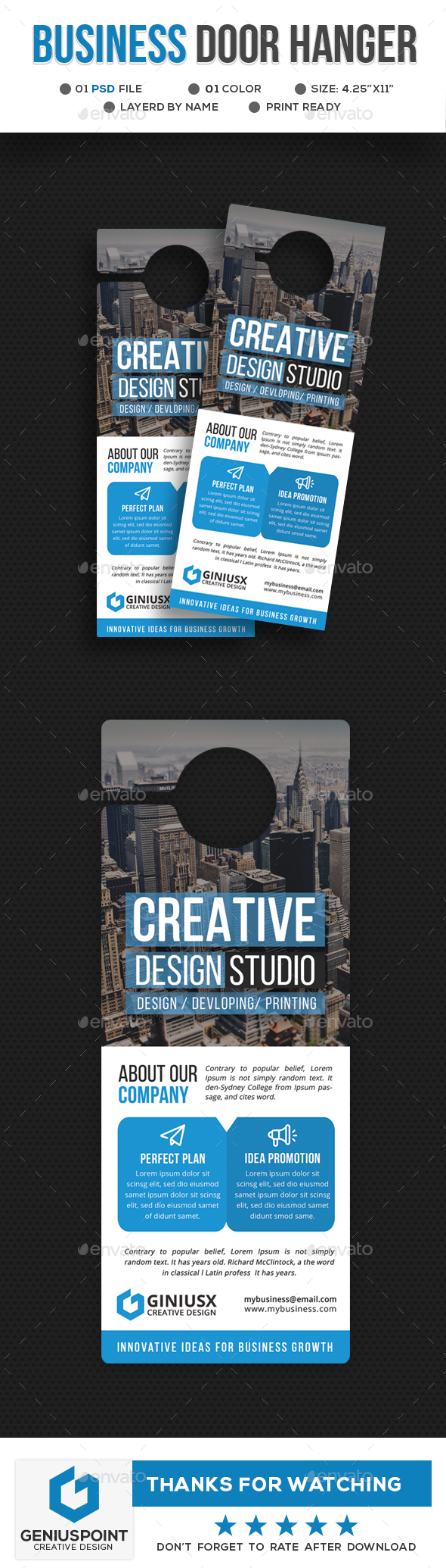 GraphicRiver Corporate Door Hanger Template 21197426