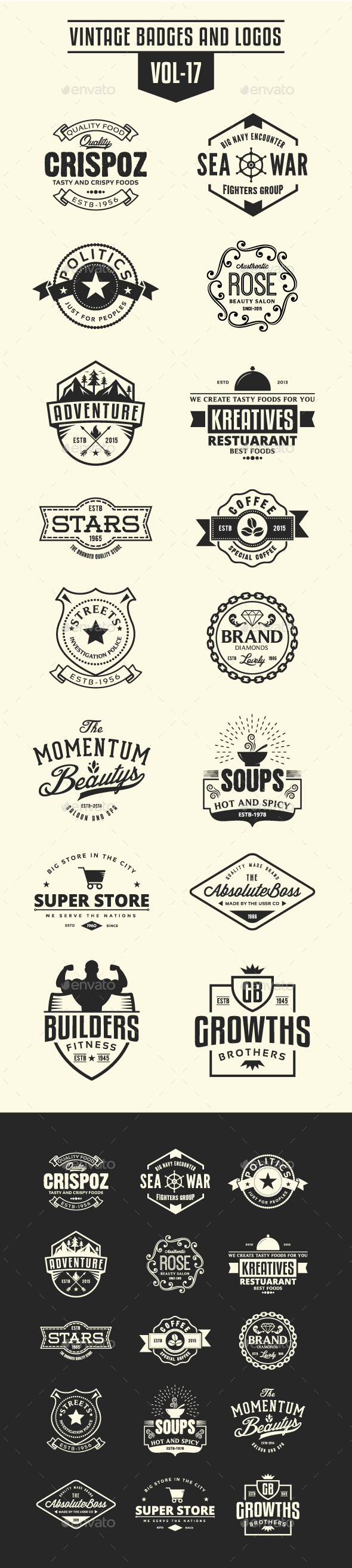 GraphicRiver Vintage Badges and Logos Vol-17 21197468