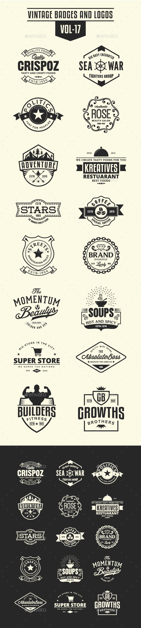 Vintage Badges and Logos Vol-17 - Badges & Stickers Web Elements