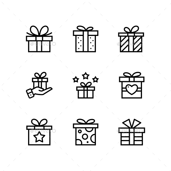 Gift, Present, Surprise Vector Simple Outline Icons for Web and Mobile Design Pack 1