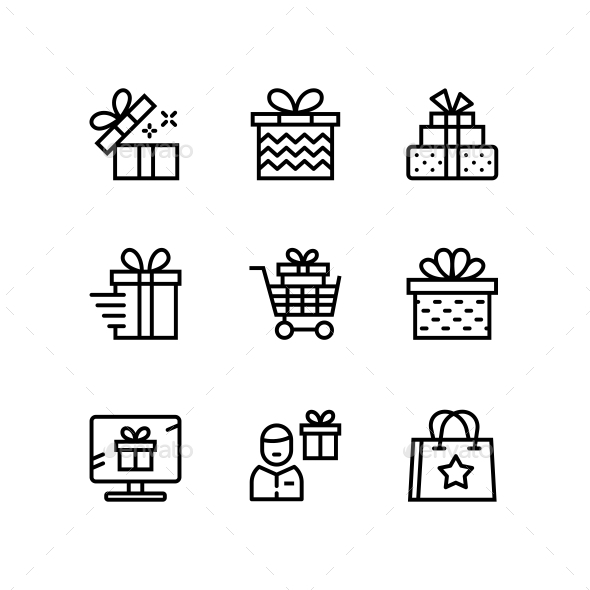 GraphicRiver Gift Present Surprise Vector Simple Outline Icons for Web and Mobile Design Pack 2 21197560