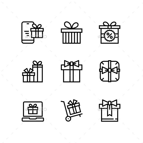 GraphicRiver Gift Present Surprise Vector Simple Outline Icons for Web and Mobile Design Pack 3 21197562