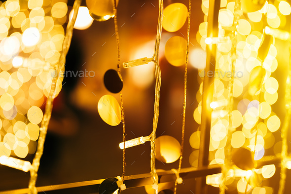 Christmas and New year street light decoration bokeh - Stock Photo - Images