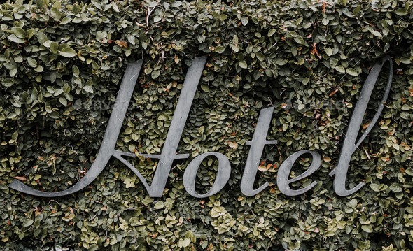 Hotel Sign in Vines - Stock Photo - Images