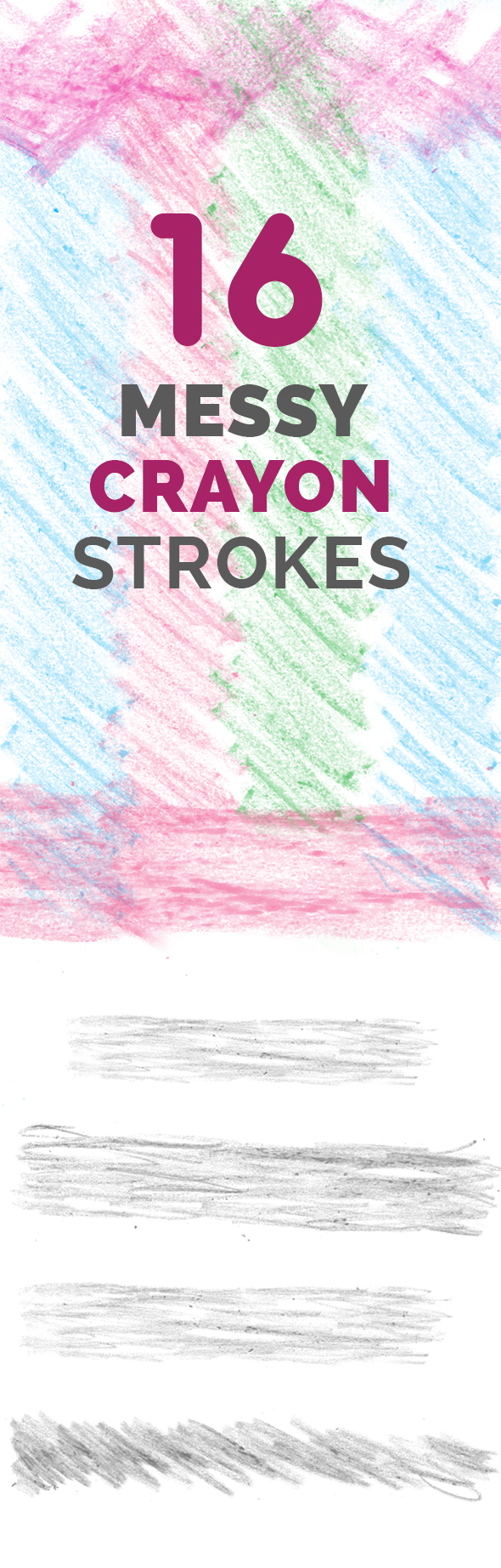 16 Messy Crayon Strokes - Brushes Photoshop