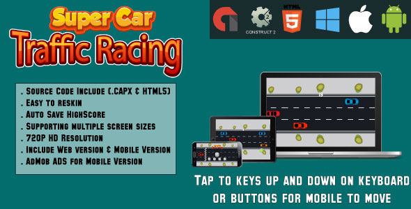 Super Car Traffic Racing - (HTML5 and MOBILE) - CodeCanyon Item for Sale