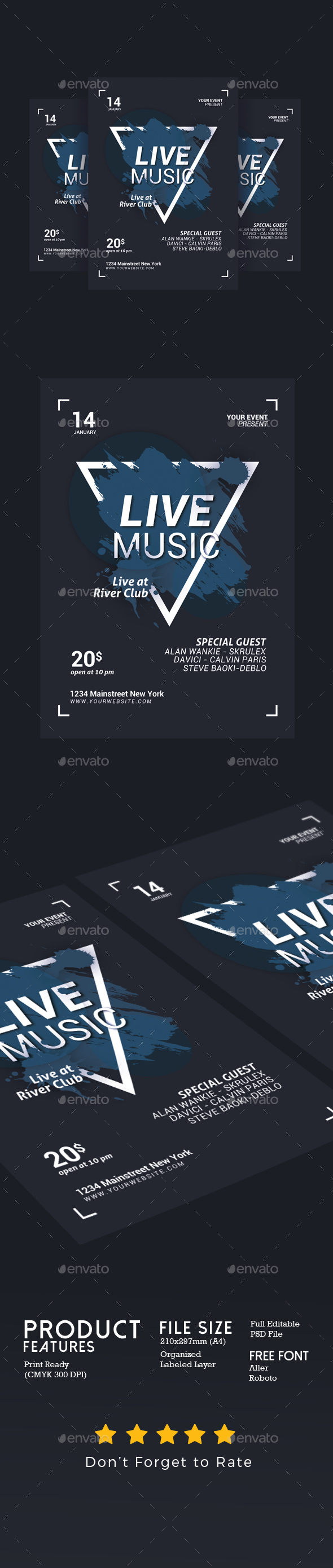 GraphicRiver Live Music Flyer 21197729