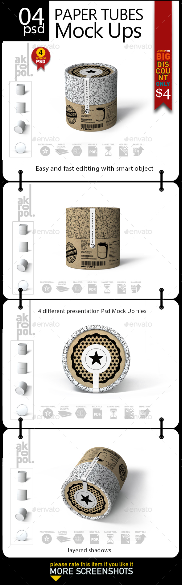 GraphicRiver Paper Tubes Mock Up 21197744