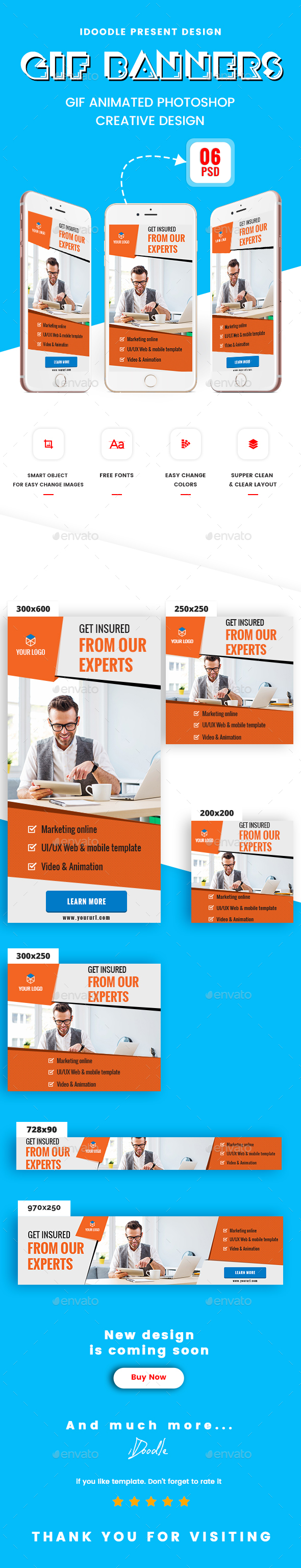 Animated GIF Multipurpose Banner Ads - Banners & Ads Web Elements