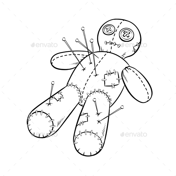 GraphicRiver Voodoo Doll Coloring Book Vector 21197828
