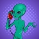 Alien Speaking on Phone Pop Art Vector