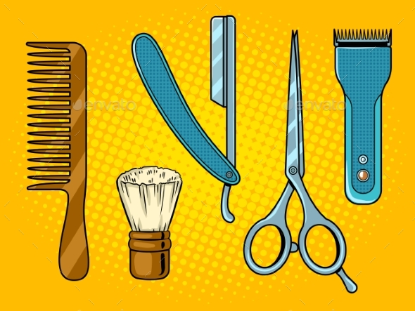 GraphicRiver Barber Tools Pop Art Vector Illustration 21197850