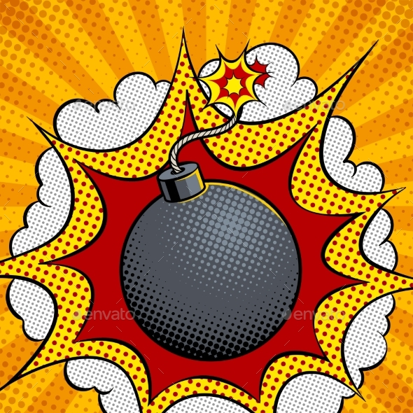 GraphicRiver Exploding Bomb Pop Art Vector Illustration 21197861