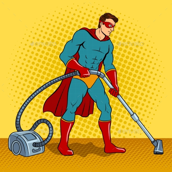 GraphicRiver Superhero with Vacuum Cleaner Pop Art Vector 21197866