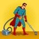 Superhero with Vacuum Cleaner Pop Art Vector