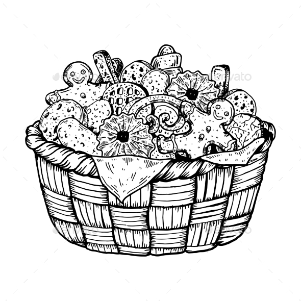GraphicRiver Basket with Cookies Engraving Vector Illustration 21197871