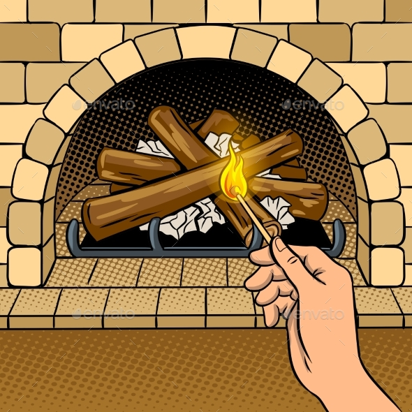 Fireplace Match Hand Pop Art Vector Illustration - Miscellaneous Vectors