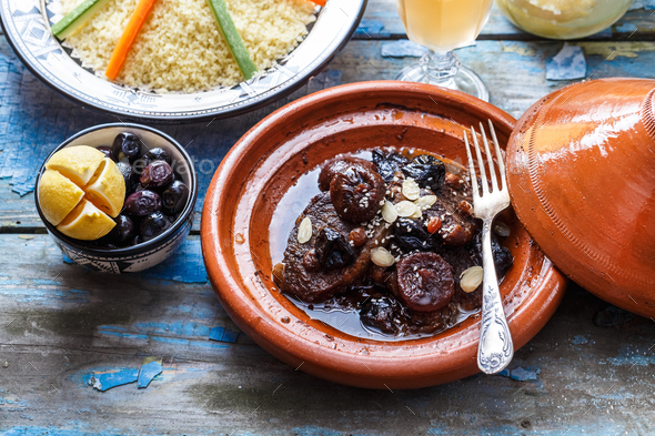 Traditional moroccan tajine of beef and prunes and almonds, close view. - Stock Photo - Images
