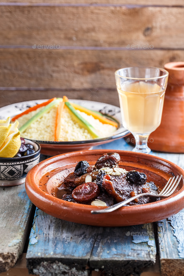 Traditional morocan beef and dry fruits tajine. Copy space - Stock Photo - Images