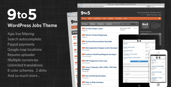 Free Download Nine to Five - Premium WordPress Jobs Theme Nulled Latest Version
