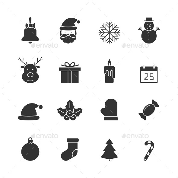 GraphicRiver Christmas black icons set 21197969