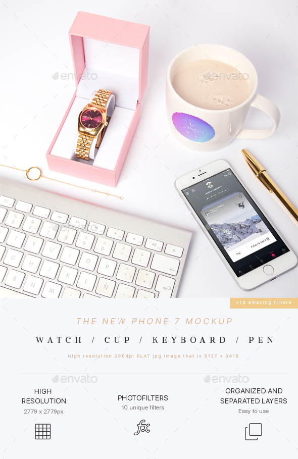 GraphicRiver Phone 7 Mockup Watch Cup Pen 21190785
