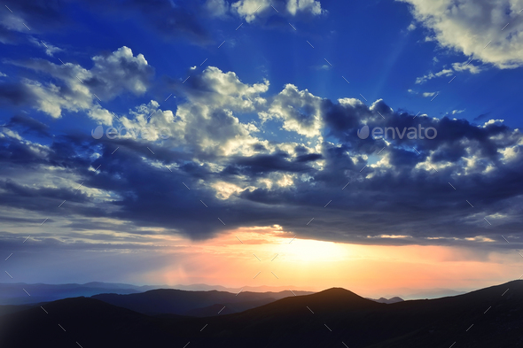 Magic sunset in the mountains landscape. Dramatic sky - Stock Photo - Images