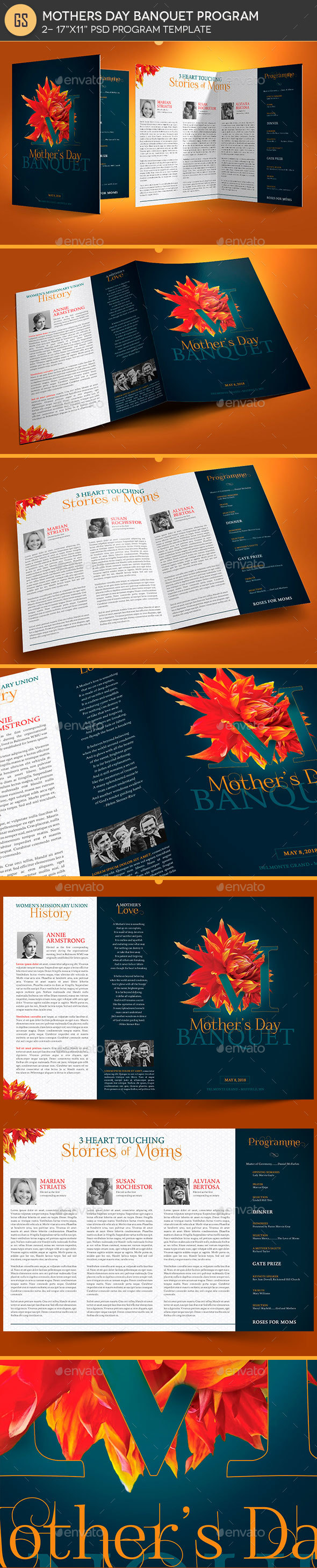 GraphicRiver Mothers Day Banquet Program Template 21198016