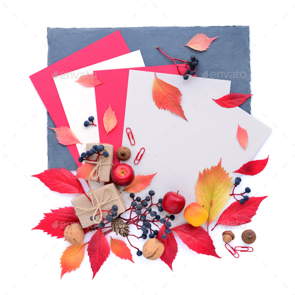 Autumn composition with sheets of paper and colorful leaves. Top - Stock Photo - Images