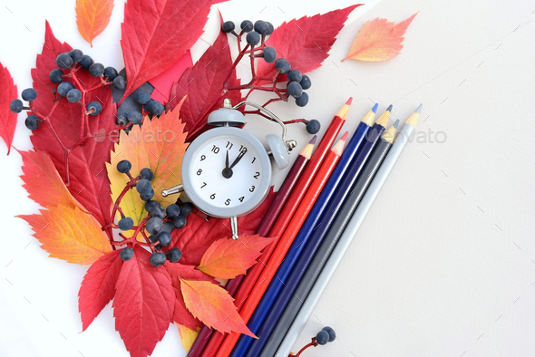 Autumn background with an alarm clock, pencils, sheets of paper - Stock Photo - Images