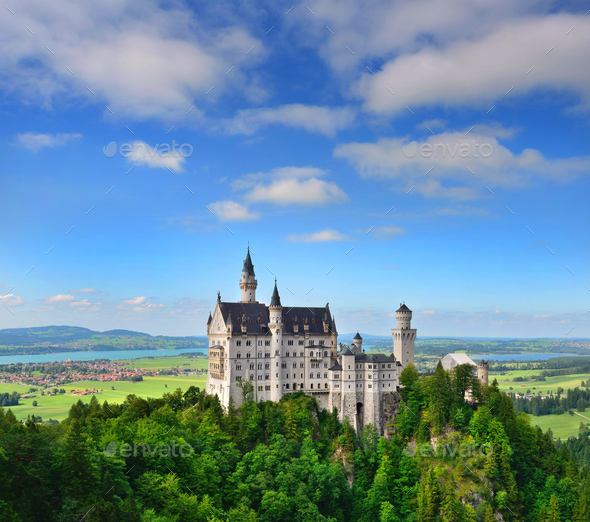 Neuschwanstein Castle the famous castle in Germany located in Fu - Stock Photo - Images