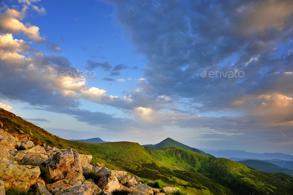 Beautiful summer landscape in the mountains. Sunset. Carpathian, - Stock Photo - Images