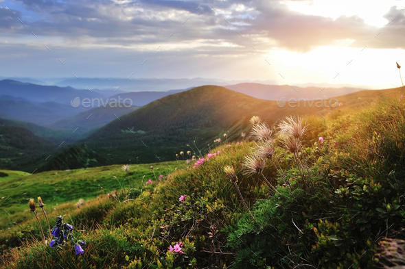 Magic sunset in the mountains landscape. Dramatic sky. Carpathia - Stock Photo - Images