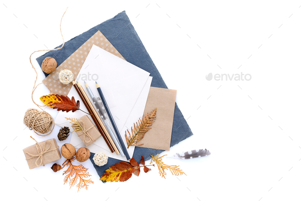 Autumn background with pencils, sheets of paper and autumn leave - Stock Photo - Images