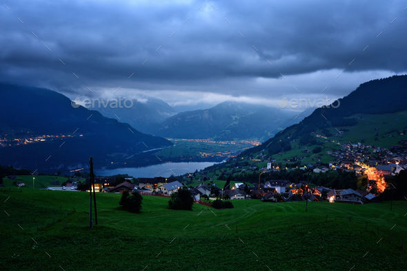 Fantastic evening view of the Lake Walensee. Dramatic and pictur - Stock Photo - Images