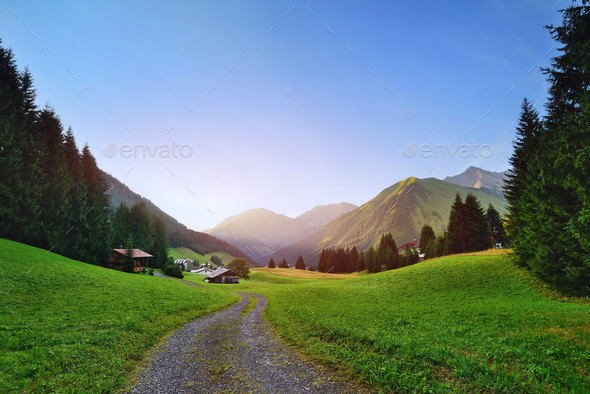 Colorful sunny morning in the Austrian Alps - Stock Photo - Images