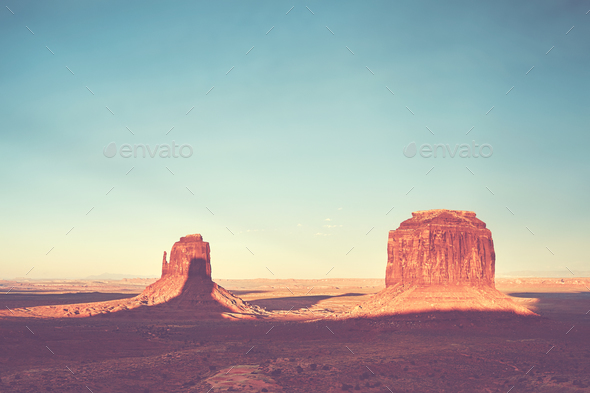 Color toned sunset over the Monument Valley, USA - Stock Photo - Images
